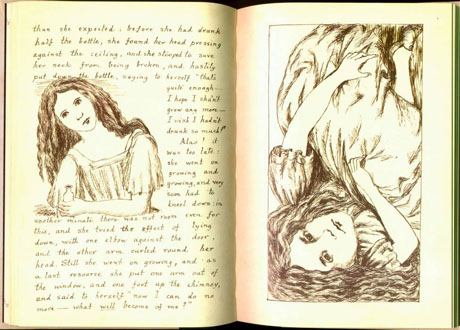 Book with text and drawings from Alice in Wonderland